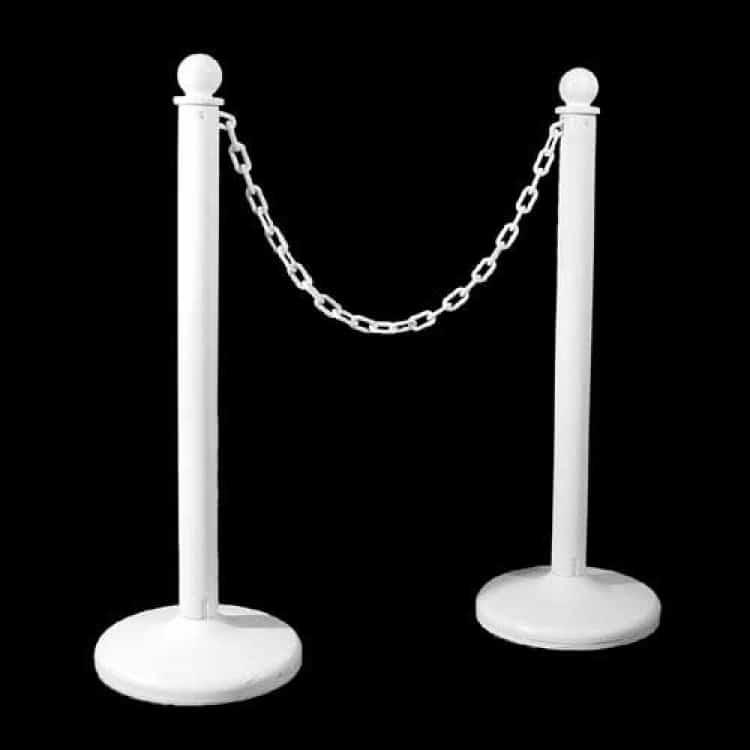 White Stanchions w/ White Plastic Chain